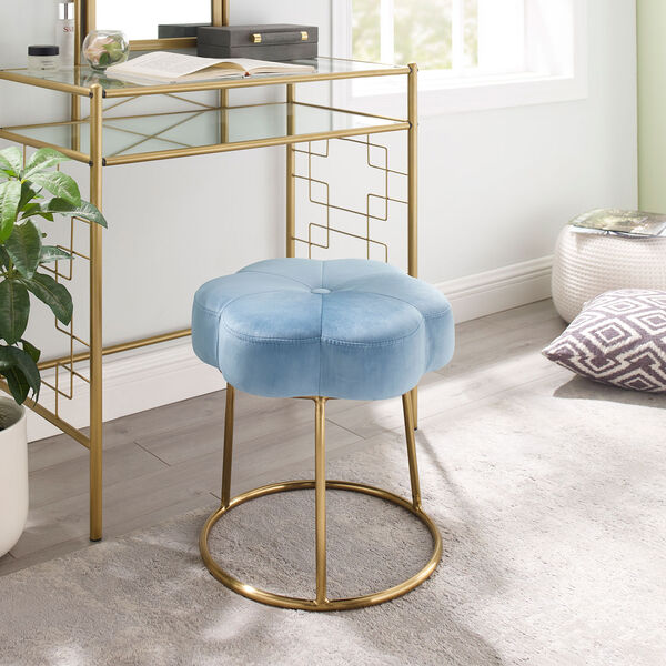 Max Gold Blue 18-Inch Vanity Stool, image 6