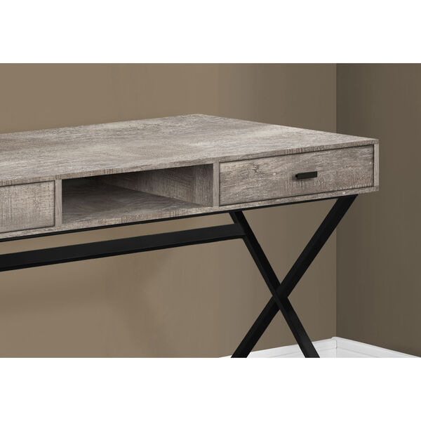 Taupe and Black 24-Inch Computer Desk with Crisscross Metal Legs, image 3