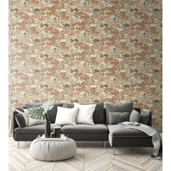 NextWall Weathered Red Brick Peel and Stick Wallpaper, image 3