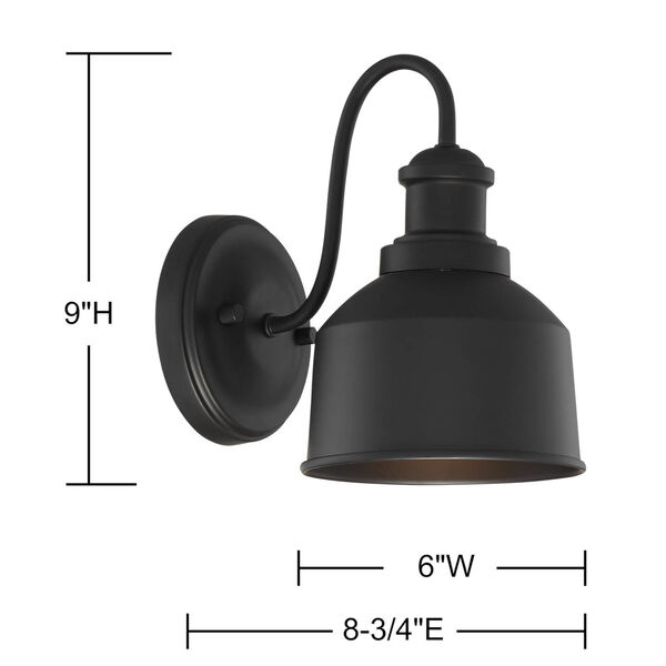 Lex Matte Black Six-Inch One-Light Outdoor Wall Sconce, image 5