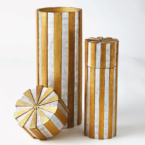 Nickel and Brass 6-Inch Metal Vertical Stripe Box, image 6