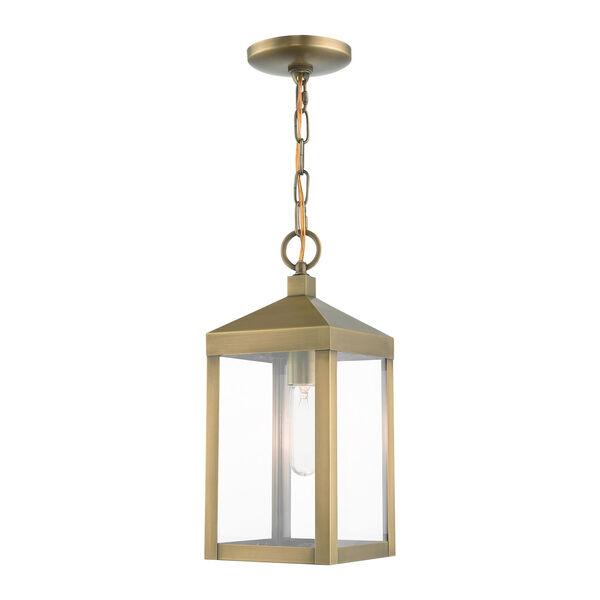 Nyack Antique Brass One-Light Outdoor Pendant Lantern, image 1