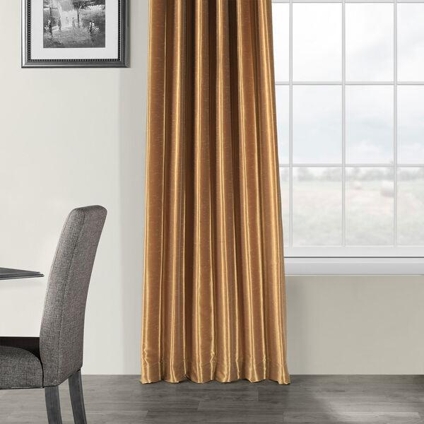 Flax Gold Vintage Textured Faux Dupioni Silk Single Panel Curtain, 50 X 120, image 5
