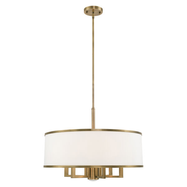 Park Ridge Antique Brass 24-Inch Seven-Light Pendant Chandelier with Hand Crafted Off-White Hardback Shade, image 1