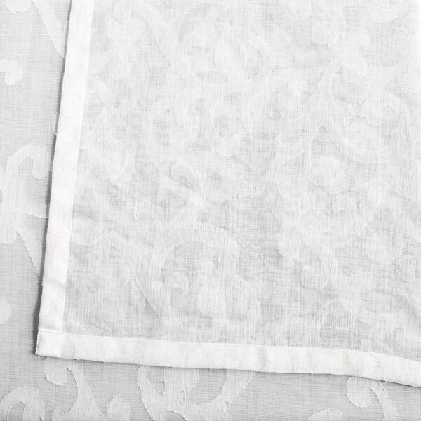 White Scroll Patterned Faux Linen Sheer 84 x 50 In. Curtain Single Panel, image 5