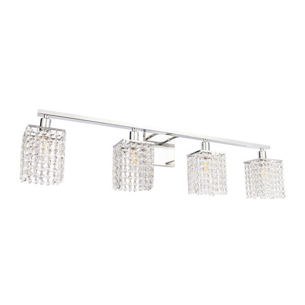 Phineas Chrome Four-Light Bath Vanity with Clear Crystals, image 5