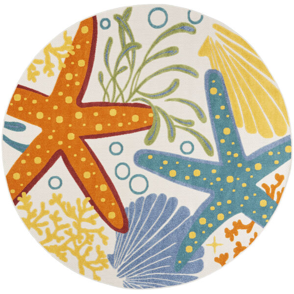 Aloha Orange and Blue 7 Ft. 10 In. x 7 Ft. 10 In. Round Indoor/Outdoor Area Rug, image 2