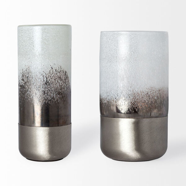 Baltic I White and Brushed Silver Glass Vase, image 2