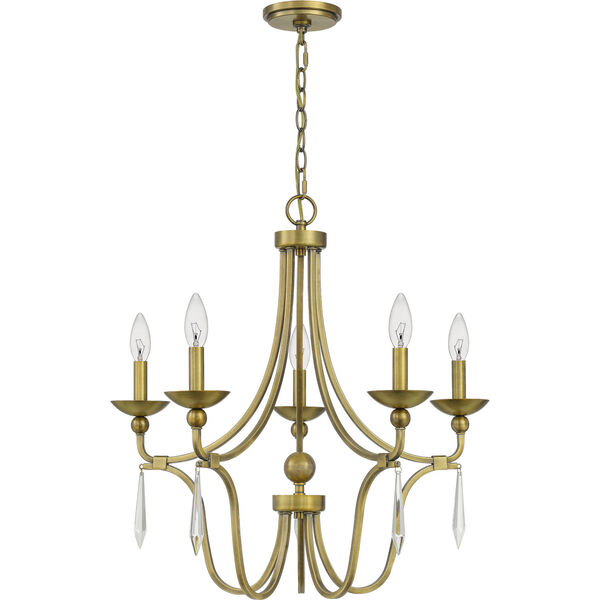 Joules Aged Brass Five-Light Chandelier, image 6