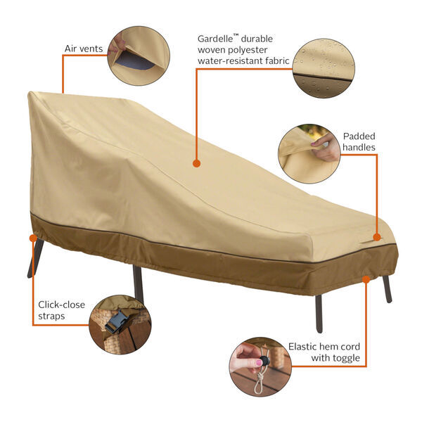 Ash Beige and Brown 86-Inch Patio Chaise Lounge Cover, image 2