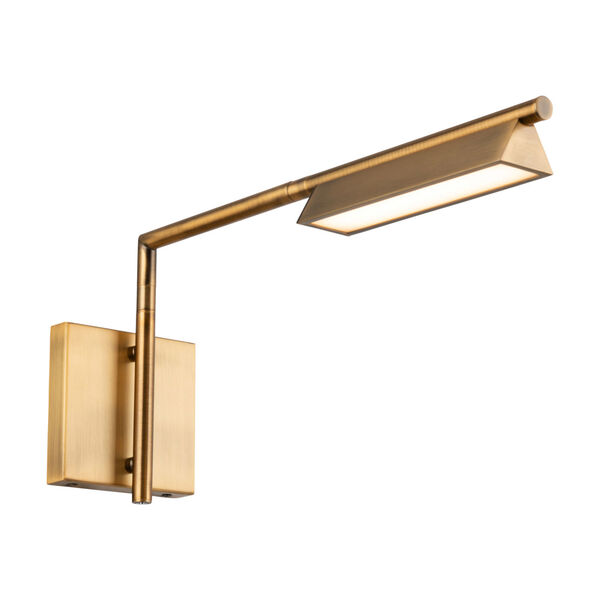 Eero Aged Brass LED Swing Arm Wall Light, image 1