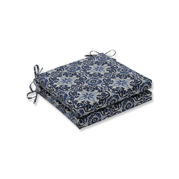 Woodblock Prism Blue Squared Corners Seat Cushion, Set of 2, image 1