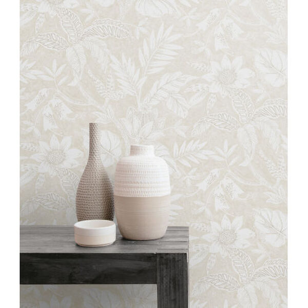 Boho Rhapsody Sand Dune and Brushed Taupe Rainforest Leaves Unpasted Wallpaper, image 1
