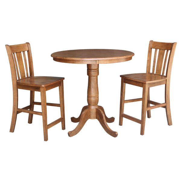 San Remo Distressed Oak 36-Inch Round Top Gathering Table with Two Counter Height Stool, Set of Three, image 2