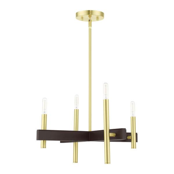 Denmark Satin Brass Four-Light Chandelier, image 2