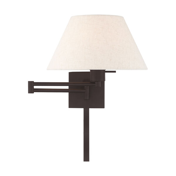 Swing Arm Wall Lamps Bronze 13-Inch One-Light Swing Arm Wall Lamp with Hand Crafted Oatmeal Hardback Shade, image 3