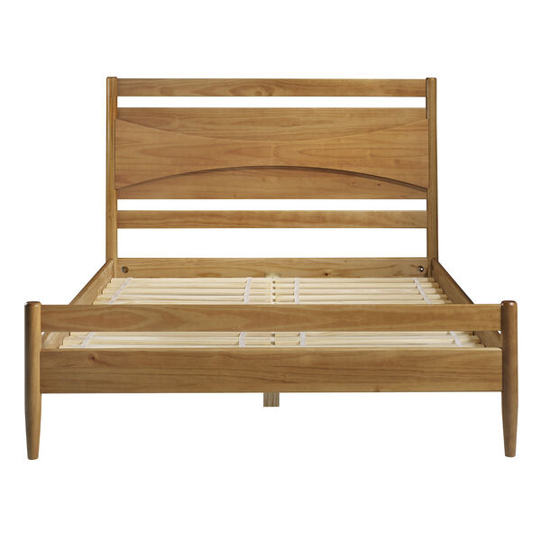 Atticus Caramel Beveled Headboard Solid Wood Queen Bed, image 4