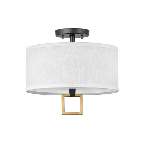 Link Black Two-Light LED Semi-Flush Mount with Off White Linen Shade, image 1