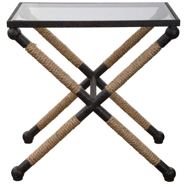 Braddock Black, Brown and Clear 16-Inch Coastal Accent Table, image 1
