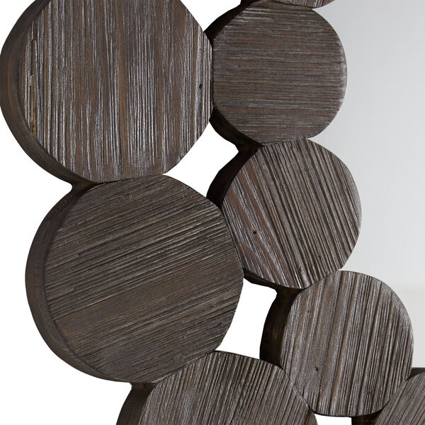 Katherine Dark Brown Reclamied Wood 32-Inch Round Wall Mirror, image 3