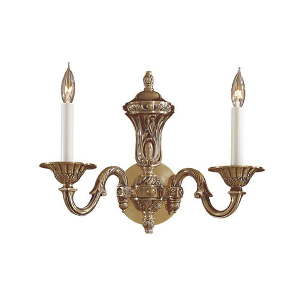 Vintage Two-Light Antique Brass Wall Sconce, image 1