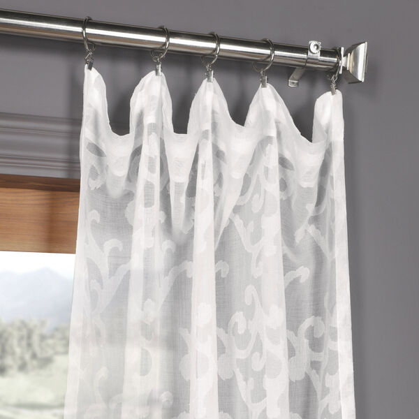 White Scroll Patterned Faux Linen Sheer 84 x 50 In. Curtain Single Panel, image 2