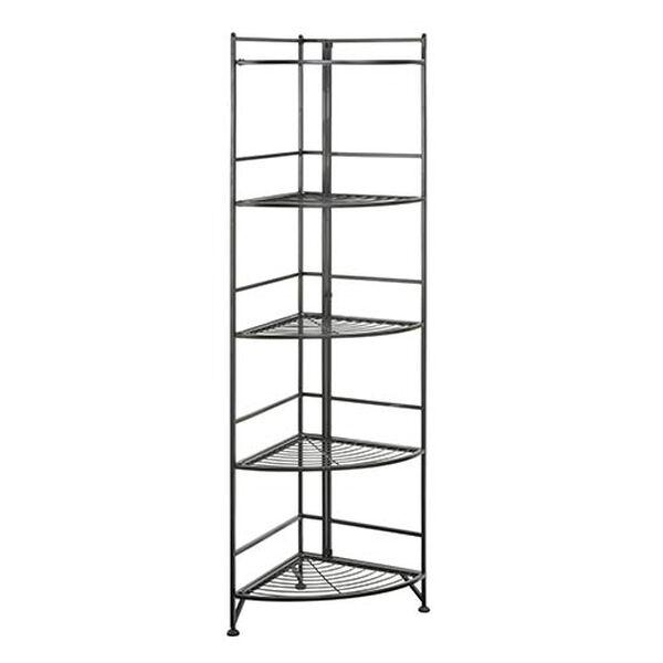 Designs2go Black Five-Tier Folding Metal Corner Shelf Media Tower, image 1