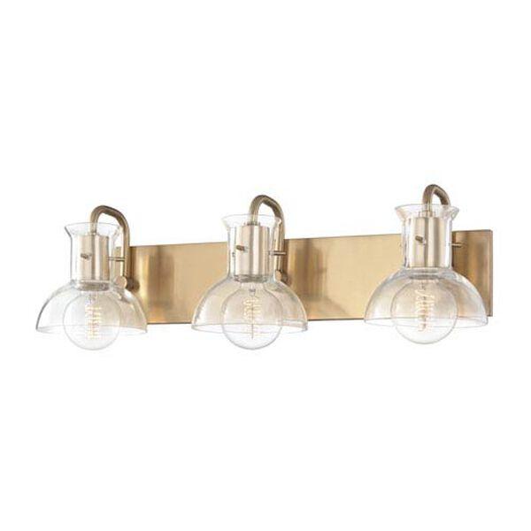 Sloane Aged Brass 24-Inch Three-Light Bath Vanity, image 1