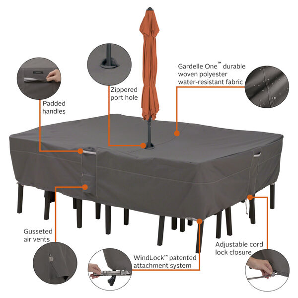 Maple Dark Taupe Rectangle Oval Patio Table and Chair Set Cover with Umbrella Hole, image 2