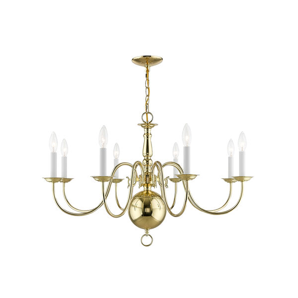 Williamsburgh Polished Brass 32-Inch Eight-Light Chandelier, image 1