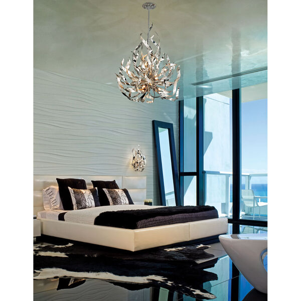 Graffiti Silver Leaf and Polished Stainless Two-Light Wall Sconce, image 2