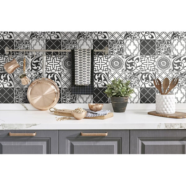 NextWall Black and White Graphic Tile Peel and Stick Wallpaper, image 1