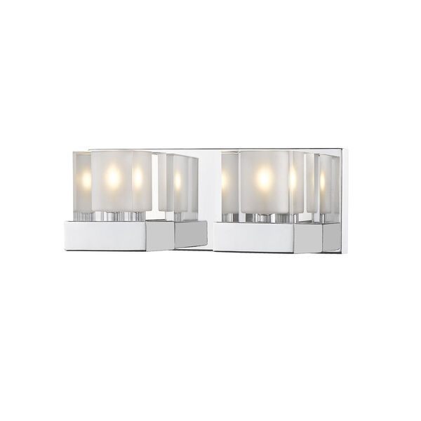 Fallon Chrome Two-Light Vanity With Transparent + Frosted Crystal, image 1