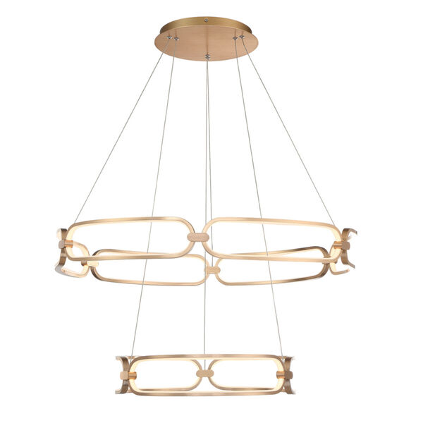 Charmed Soft Gold 32-Inch Two-Ring LED Chandelier, image 2
