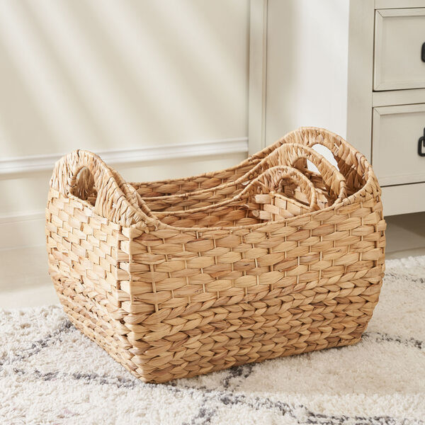 Amelia Sandy Three-Piece Water Hyacinth Picnic and Grocery Basket Set with Handles, image 3