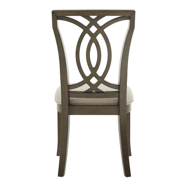 Gloria Dark Walnut and Beige Dining Chair, Set of Two, image 4
