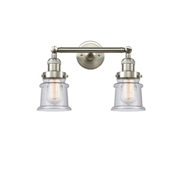 Franklin Restoration Brushed Satin Nickel 17-Inch Two-Light LED Bath Vanity with Seedy Glass Shade, image 1