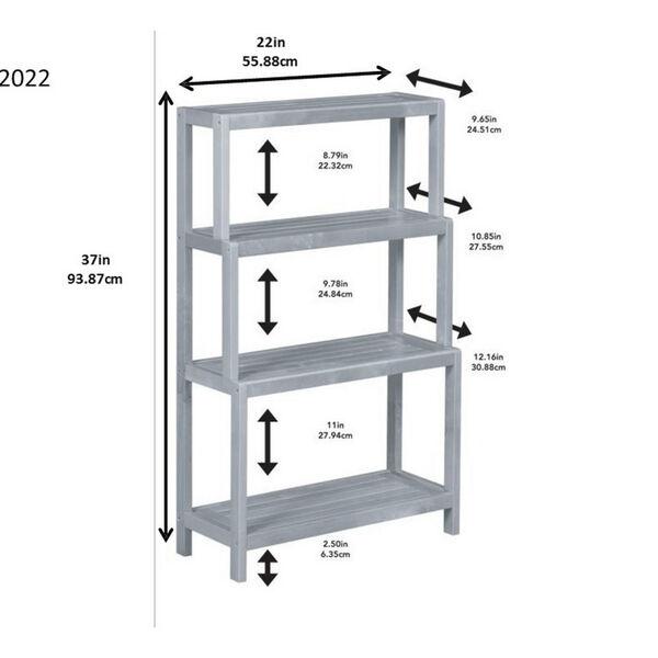 Dunnsville White 4-Tier Step Back Shelf Bookcase, image 5