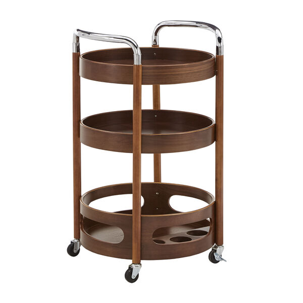 Adora Walnut Round Bar Cart, image 1