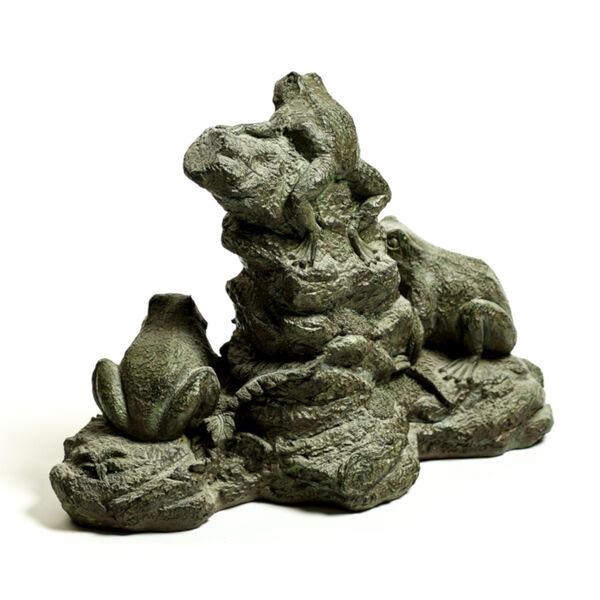 Verde Fiberstone Frog Trio Figurine, image 2