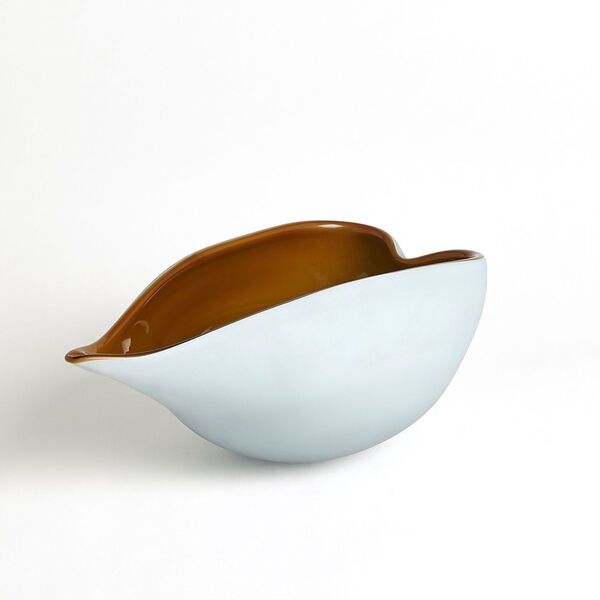 Frosted Blue and Amber 7-Inch Decorative Bowl, image 4