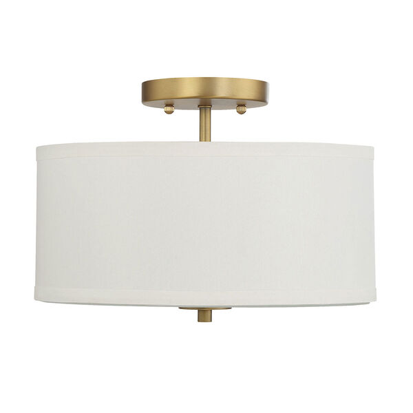 Selby Natural Brass Two-Light Semi Flush Mount with White Fabric Shade, image 2