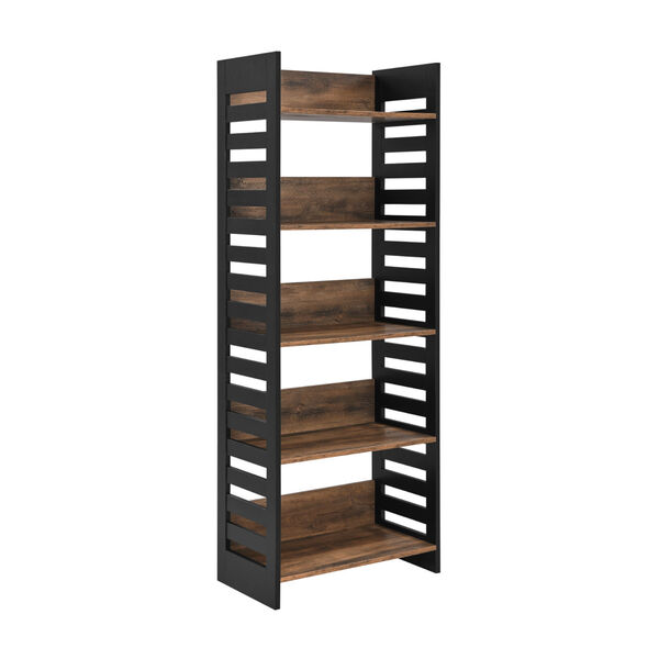Howard Reclaimed Barnwood and Solid Black Five Self Bookcase, image 4