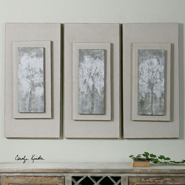 Triptych Trees Hand Painted Art, Set of Three, image 1