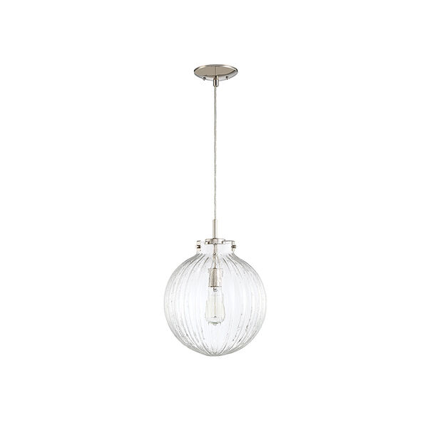 Whittier Polished Nickel One-Light Mini Pendant with Ribbed Glass, image 2