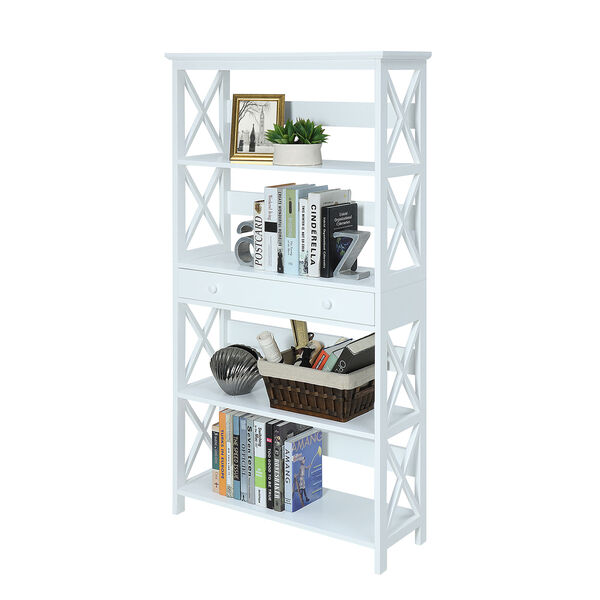 Oxford 5-Tier Bookcase with Drawer, White, image 3