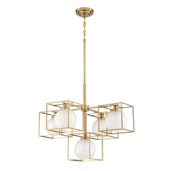 Cowen Brushed Gold Five-Light Chandelier, image 2