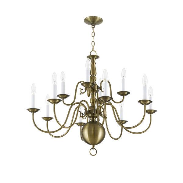 Williamsburgh Antique Brass 12 Light Chandelier, image 2