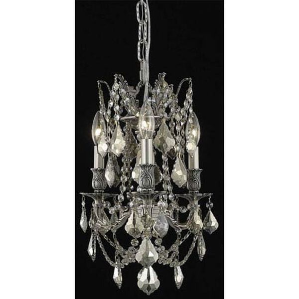 Rosalia Pewter Three-Light Chandelier with Golden Teak/Smoky Royal Cut Crystals, image 1
