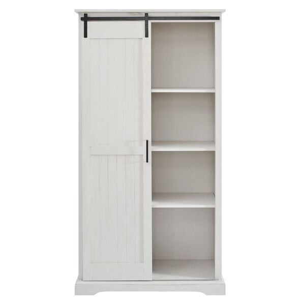 Barn Door Brushed White Storage Cabinet, image 5